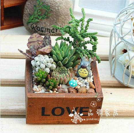 zakka mini LOVE Wood storage box retro wooden box succulents potted plants no plant 10