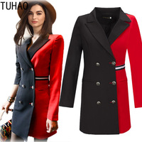 TUHAO 2018 Spring Autumn Women's Blazers Long Office Lady Formal Jackets Suit European Style Lapel Red Black Hot Blazer JA201