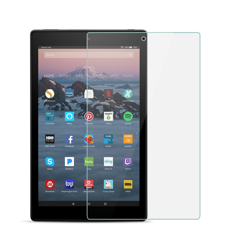 9H Full Covers Tempered Glass For Amazon Fire HD 10 2017 2015 10.1 Inch Screen Protector Film Protective Glass Guard