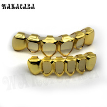 WAKACARA GOLD PLATED COPPER GRILLZ TOP & BOTTOM HIPHOP TEETH GRILL SET With silicone fashion Vampire teeth Party Gifts