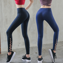 цены на Lace Up Skinny Yoga Sports Pants Women Sexy Cutout Open Cross Legging For Fitness Running Workout  High Waist Leggings  в интернет-магазинах