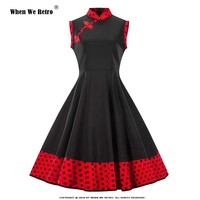 When We Retro Plus Size Summer Dress 2019 Cotton Women Sleeveless Black Red Polka Dot Stand Swing Vintage Retro Dress P94