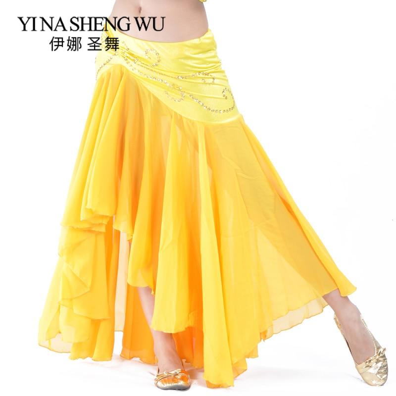Belly Dance Skirt Professional Dance Chiffon Long Slim Skirt Women Sexy Belly Dance Fishtail Skirt Belly Dance Practice Clothes