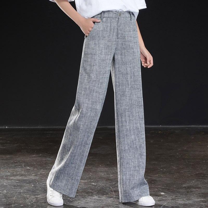 shangege Cotton and linen   pants   women loose thin straight   pants   2019 new large size linen   wide     leg     pants   casual long   pants