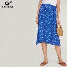 ROHOPO Women Blue Tiny Printed Floral Midi Skirt Belted High Waist Flare Hem Autumn Girl Streetwear Skirts #YY051H
