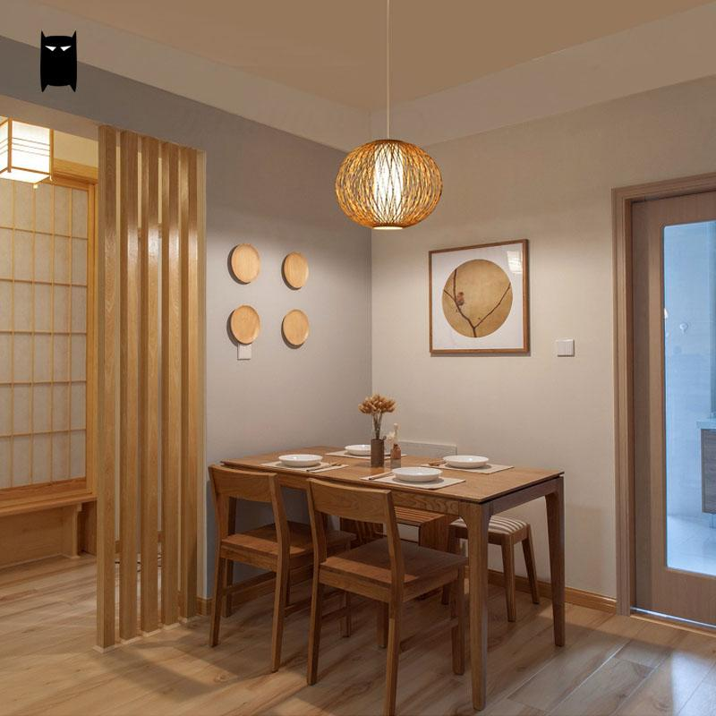 Bamboo Wicker Rattan Shade Globe Ball Pendant Light Fixture Asian Japanese Hanging Lamp Luminaria Design Dining Table Room Salon