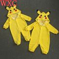 Outfit Pikachu Pokemon Ir Da Criança Infantil Do Bebê Da Menina do Menino Macacão Romper Cosplay WXC
