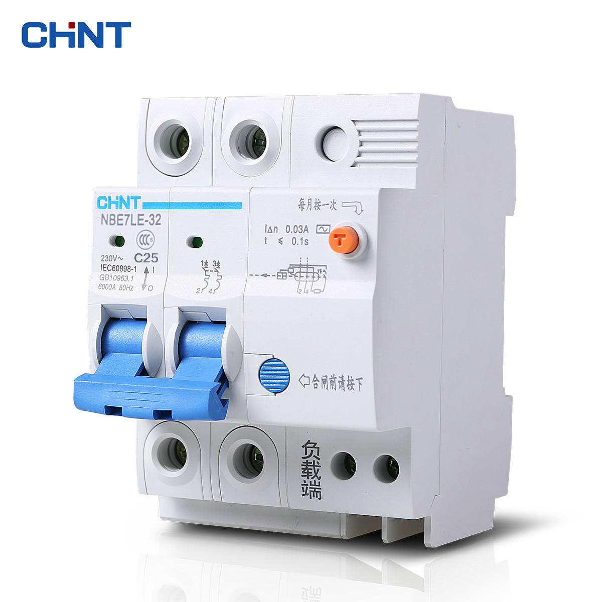 CHINT Interruptor de Aire Disyuntor de Fuga de Protección de Choque Eléctrico NBE7LE C25 2 P 25A Con Interruptor de Circuito de Fuga