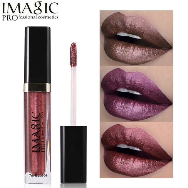 Juego de brillo de labios de Metal Imagic lápiz labial líquido mate brillo de labios metálico maquillaje de labios profesional pintura de labios impermeable
