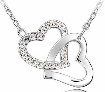 Rhinestone Double Heart pendant necklace 1