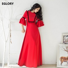 Red Long Dress New Fashion 2017 Autumn Women Flare Sleeve Ruffles Floral Floor Length Long Maxi Dress Oversize 2XL Party Events