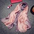 Suave Bufanda De Seda Real para Las Mujeres 190*100 cm 2017 Nuevo Gradiente de La Bufanda de Pashmina y Mandala Manta Chales Estolas bufandas de la Marca de Lujo