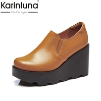 KARINLUNA High Quality Cow Leather Size 34 39 Wedge High Heel Black Brown Shoes Women Shoes