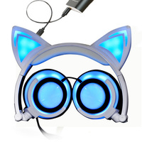Flashing Glowing Cat Ear Headphones Gaming Headset Fidget Foldable Baby Kids Earphone With LED Light For