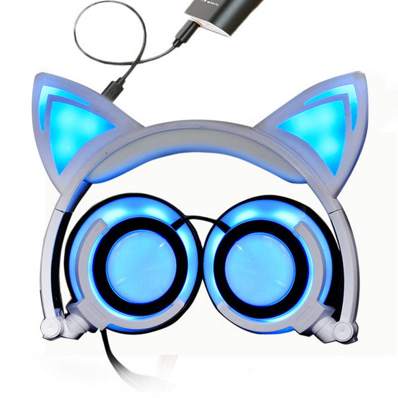 Gaming Headset Flashing Glowing Cat Ear Headphones Fidget Foldable Baby Kids Earphone with LED light Headset for Computer Phone foldable cat ear headphones gaming headset earphone with glowing led light for phone computer best halloween gift for girls kids