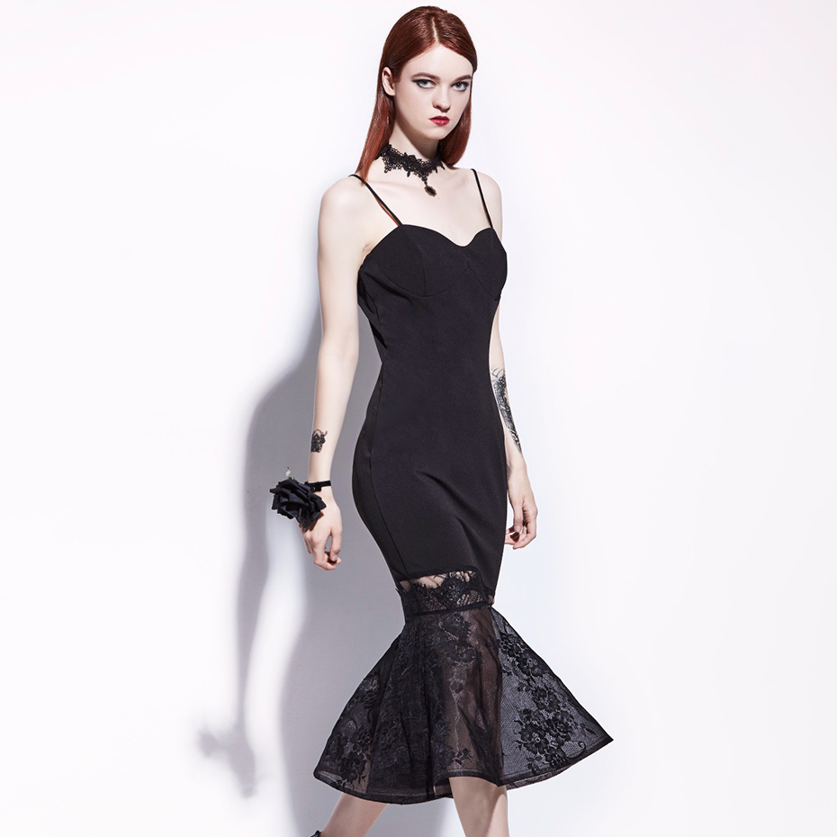 Women Gothic Black Dress Strap Sexy Fishtail Lace Patchwork Dress Summer Backless Party Goth Mermaid Midi Dress Plus Size