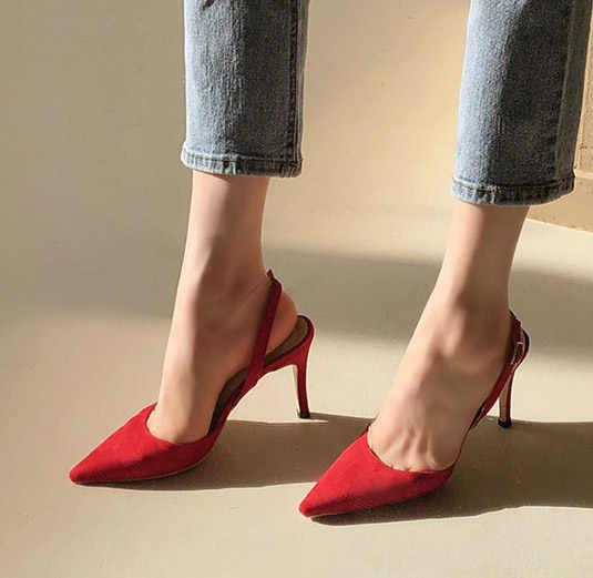 LIHUAMAO 女性サンダル夏 2019 バックストラップポインテッドトゥシンヒール女性のサンダルの靴パンプス 8 センチメートル高さ