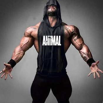 Brand Gym Clothing Fitness Men Cotton Tanktop with hooded Mens Bodybuilding Stringers Tank Tops workout Singlet Sleeveless Shirt 22