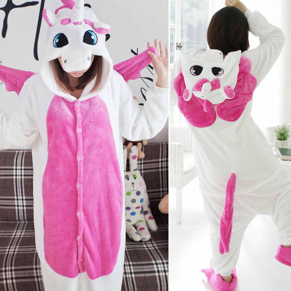 ... Унисекс Зимние теплые Косплей пижамы единорог стежка панда взрослые  животные комбинезоны пижамы Фланелевая пижама с капюшоном ... f4ed9b5568187