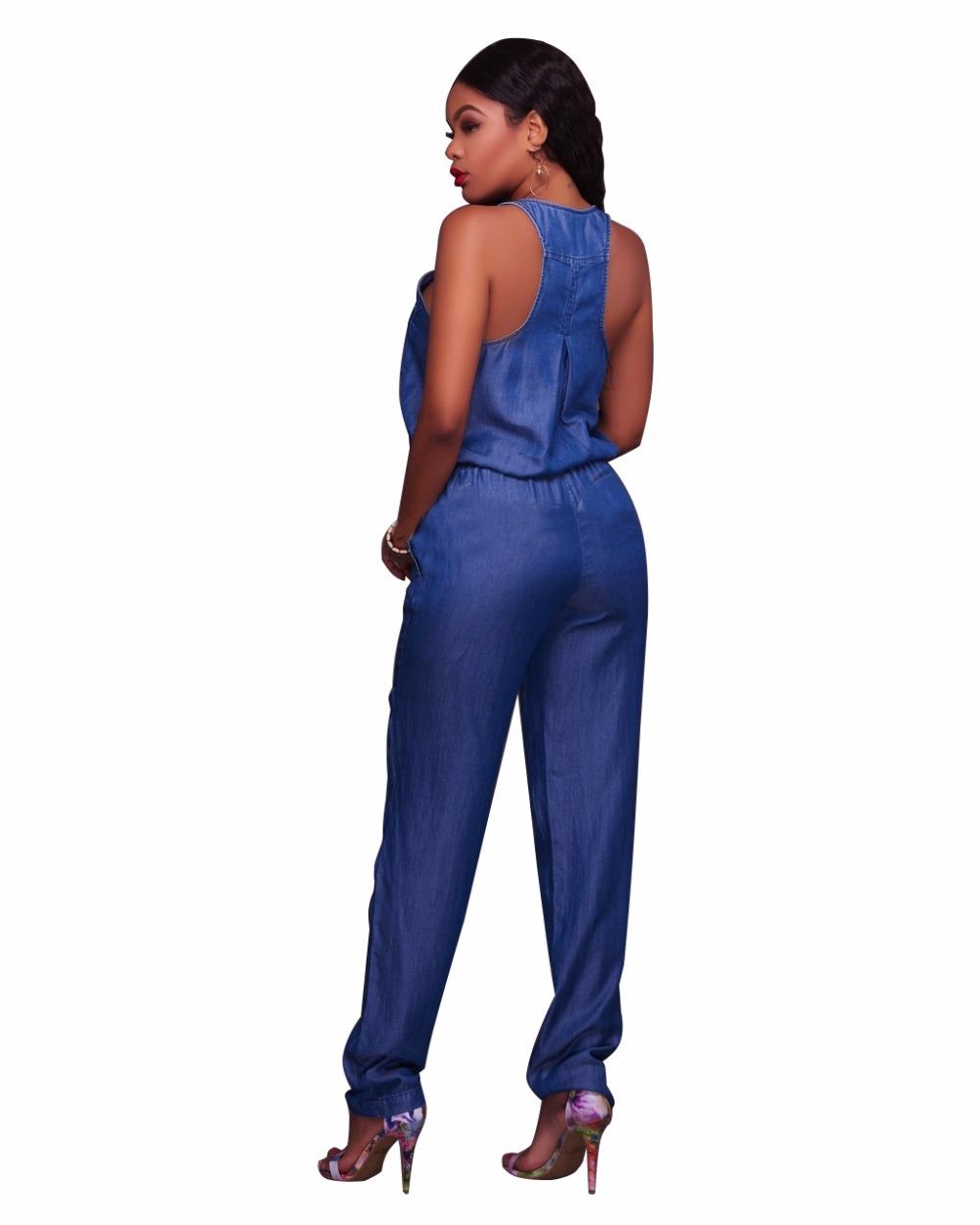 ae028adcce72 ... Jumpsuit For Women Overalls Romper Body Femme Harem Full Length Denim  Regular Fit Drawstring Waist Tank ...
