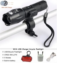 ФОТО usb flashlight 8000 lumens led cree xm-t6 l2  front torch bicycle light cycling lamp usb charger 5 mode bike lamp waterproof led