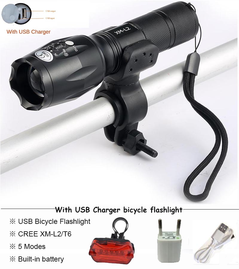 USB Flashlight 8000 lums LED CREE XM-T6 L2 Torch Bicycle Light cycling lamp USB Charger Bike light Bike Lamp Waterproof led ride