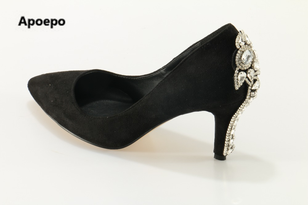 Apoepo brand mary jane shoes black bling shoes high heels pumps women crystal zapatos mujer 2017 hochzeit schuhe bridal shoes apoepo brand 2017 zapatos mujer black and red shoes women peep toe pumps sexy high heels shoes women s platform pumps size 43