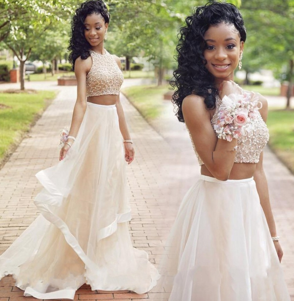 Prom-Dresses Beading Evening-Dress Robe-De-Soiree Tulle Long Sleeveless 2pieces New Gorgeous