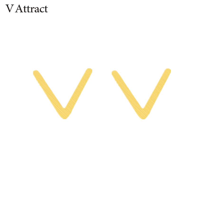 V Attract Minimalism Bijoux Stainless Steel Brinco Feminino Gold Silver Classic Chevron V Stud Earrings 2018 Women Men Jewelry