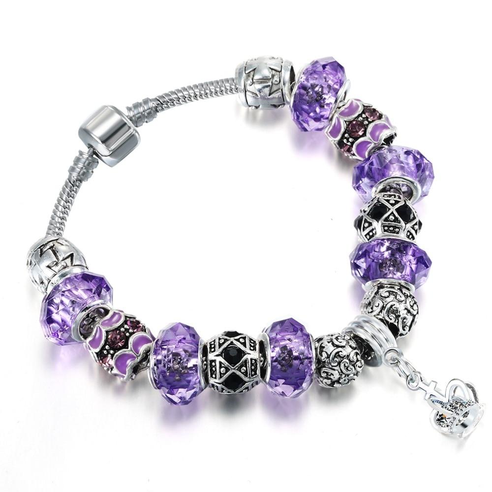 QIAMNI-Purple-Glass-Beads-Crown-Pendant-Dangle-Snake-Chain-Bracelets-Bangles-for-Women-Girl-Christmas-Gift