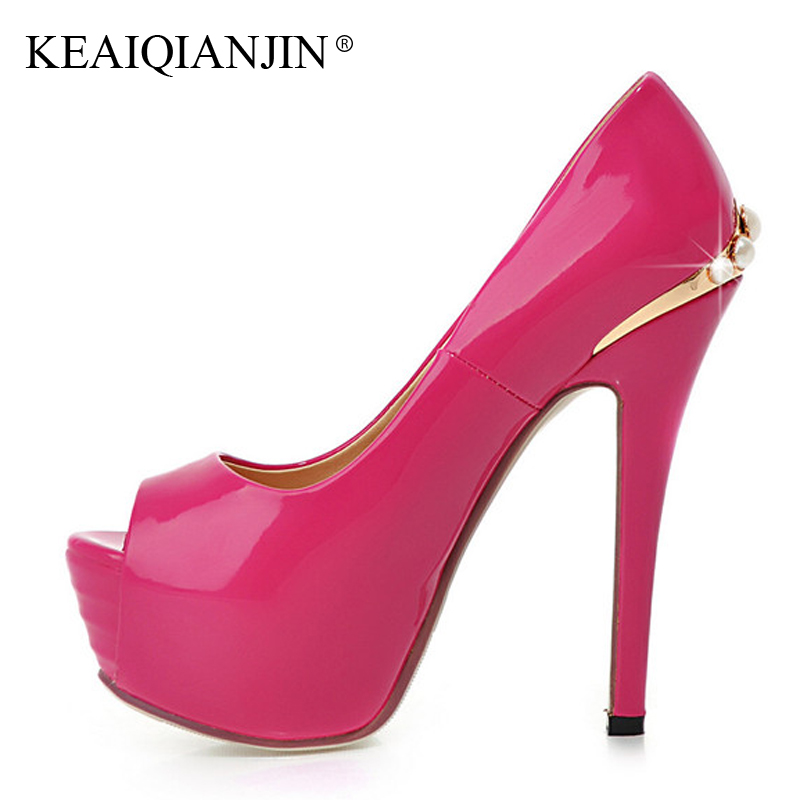 KEAIQIANJIN Woman Peep Toe Pumps Plus Size 33 - 43 Ultra High Heels Shoes Wedding Party Sexy Pumps Black White Golden Stiletto цены онлайн