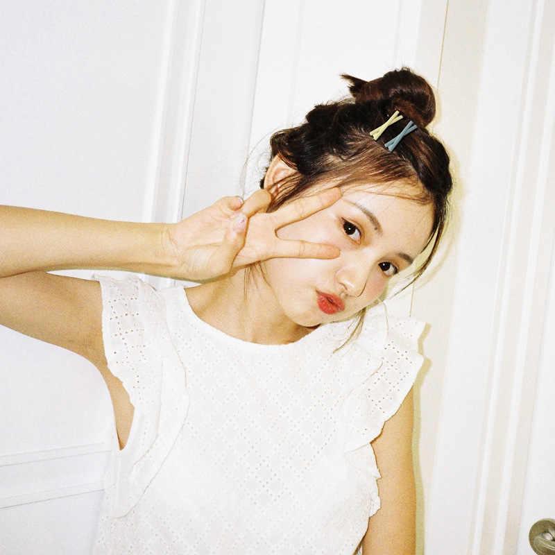 Clip jovem menina coração pequenas coisas fosco clipe de cabelo doce cor cruz lado clipe coreano jóias de cabelo