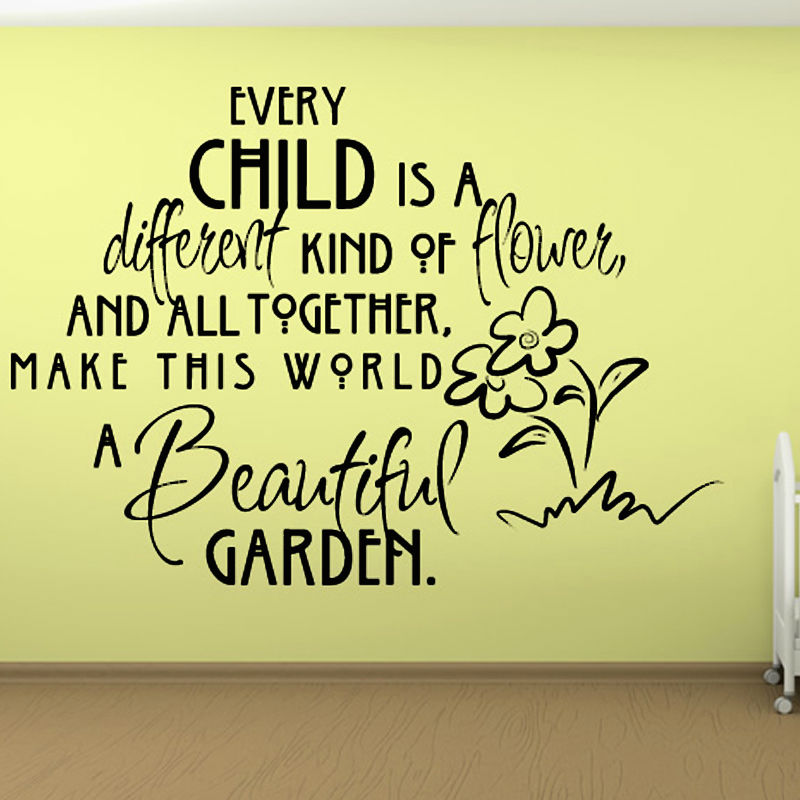 every Child Is A Different Kind Of Flower Wall Sticker Text Vinyl ...