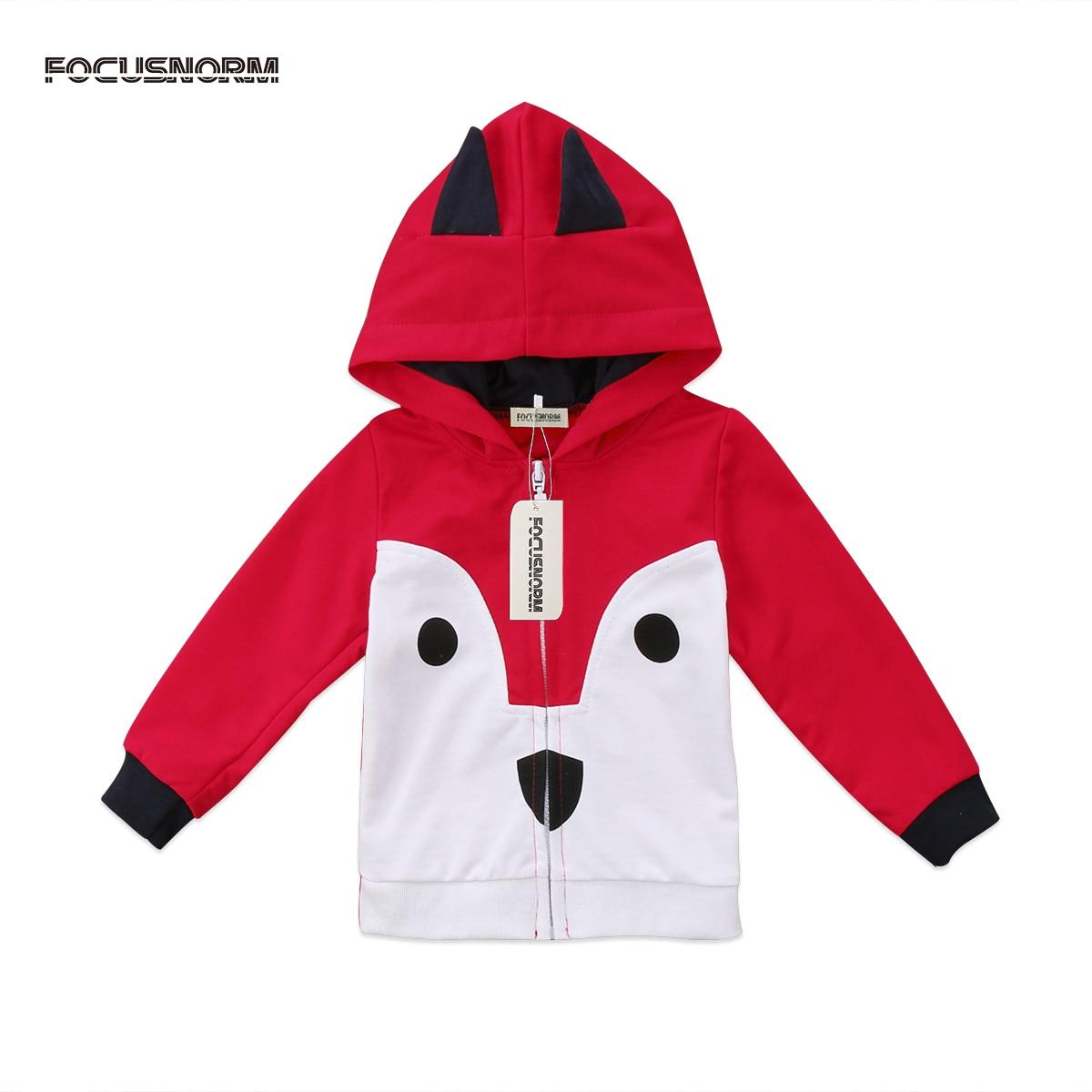 Fashion Kids Baby Boys Girls Infant Clothes Zipper Cartoon Animals Long Sleeves Sweatshirts Hoodies Tops