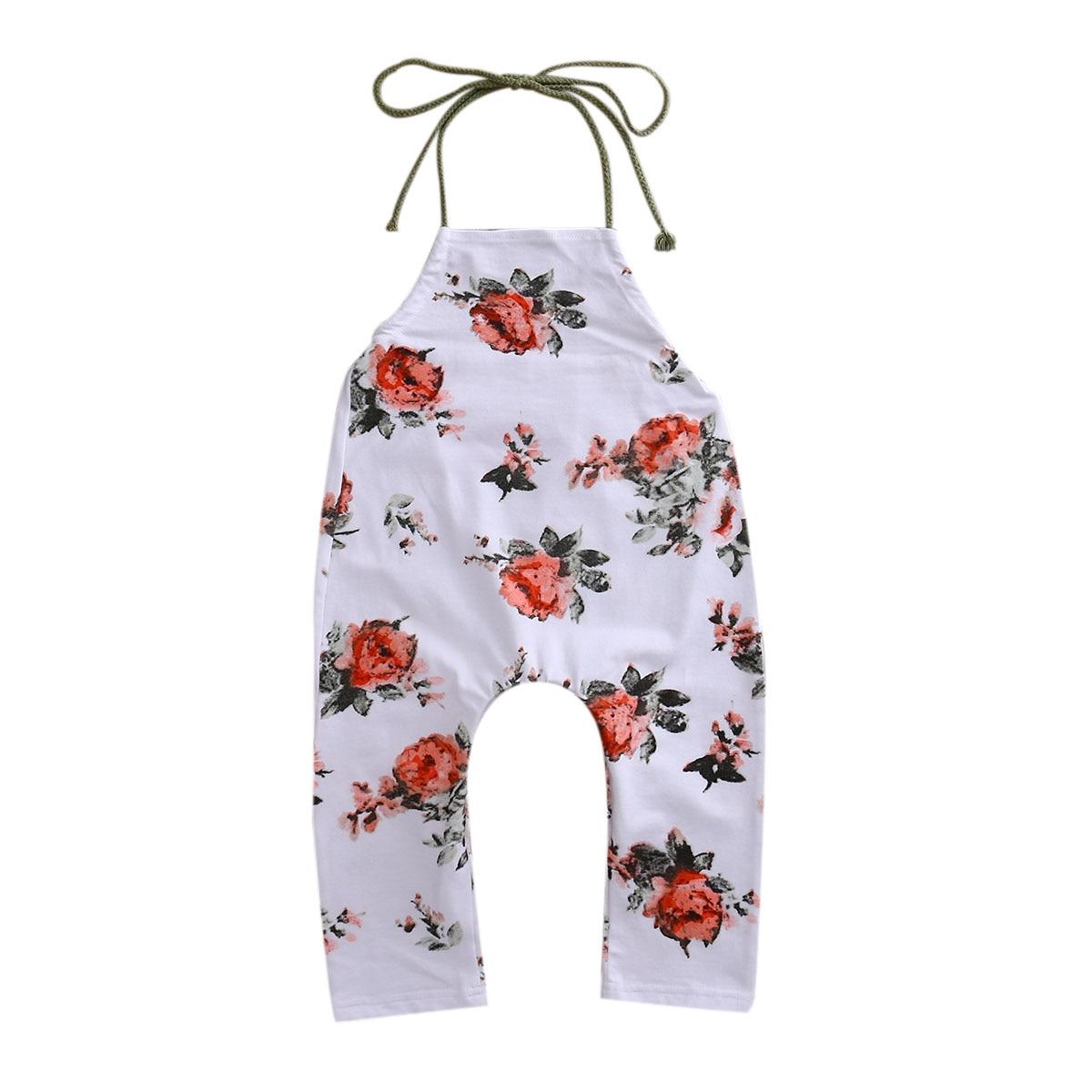 Lovely Summer Toddler Baby Kids Girls  Flower Romper Sleeveless Floral Belt Cotton Clothing  Lace up Jumpsuit