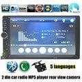 7 Polegada MP4 MP5 player USB TF FM Auto rádio Dupla DIN Tela de Toque Carro com câmera de visão traseira Do Bluetooth nova chegada