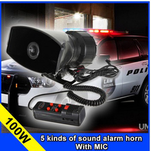 wholesale5 Tone Police horn alarm Siren 12v 100W Car  motorcycle tape megaphone pa Speaker system+ Microphone
