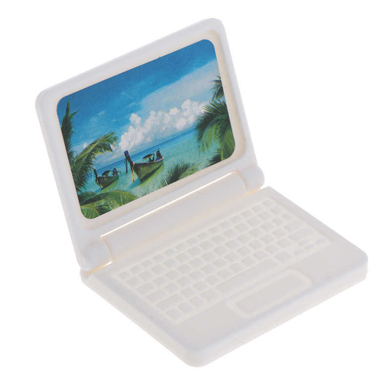 Creative Dollhouse Miniature โมเดิร์นคอมพิวเตอร์เฟอร์นิเจอร์สำหรับของเล่นเด็กเฟอร์นิเจอร์สำหรับตุ๊กตาแล็ปท็อปคอมพิวเตอร์สีสุ่ม
