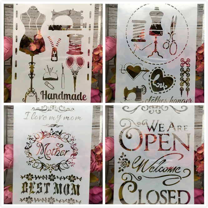 4Pcs/Lot A4 Mother Sewing Open Closed DIY Layering Stencils Painting Scrapbook Coloring Embossing Album Decorative Card Template