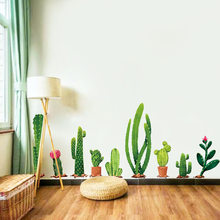 Cactus Plant TV Sofa Art Background Wall Stickers Home Decor Living Room 3D Wall Decal Autocollant Mural(China)