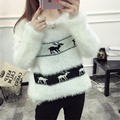 Women Sweaters Autumn Winter Warm Mohair Europe Christmas deer jacquard long-sleeved sweater female Pullover Casual Loose Tops