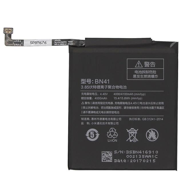BN41 Phone Battery For Xiaomi Redmi Hongmi Note 4 / Note 4X MTK Helio X20 4000mAh Original Replacement Battery + Tool