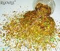 Голографический лазерный золотой цвет глиттер для ногтей шестиугольные блестки Spangle в форме порошка для DIY косметика для ногтей Блестки для рукоделия - фото