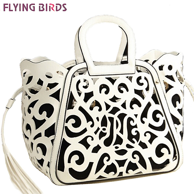 FLYING BIRDS! 2016 new women leather handbag designer messenger bags women shoulder bag hollow out tote tassel bolsas LS5024fb