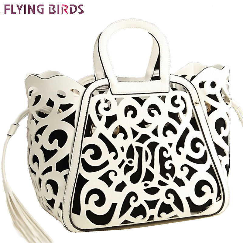 FLYING BIRDS Famous Brand Women Leather Handbag Designer Messenger Bags Women Shoulder Bag Hollow Out Tote Tassel Bolsas LS5024 unique design women leather canvas women big tote bag knit hollow out basket bag lady brown shopping bucket bags famous designer