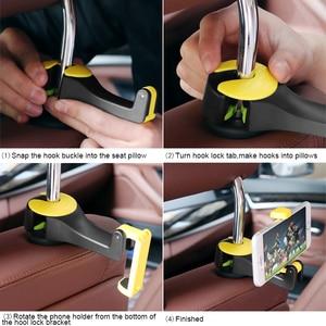 Image 3 - 2 in 1 Car Headrest Hook with Phone Holder Seat Back Hanger for Bag Handbag Purse Grocery Cloth Foldble Clips Organizer