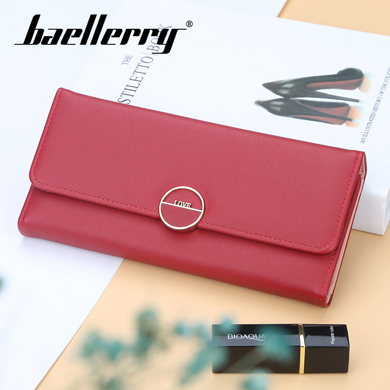 Baellerry 8 Color Solid Long Wallet PU Leather Hasp Porta Coin Pocket Card Holder Photo Phone Lady Vintage