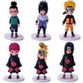 6 unids/set Anime Naruto Sasuke Shikamaru Sasori Itachi Deidara Uzumaki Naruto Figura PVC Figuras de Acción Juguetes de Colección Modelo de Juguete