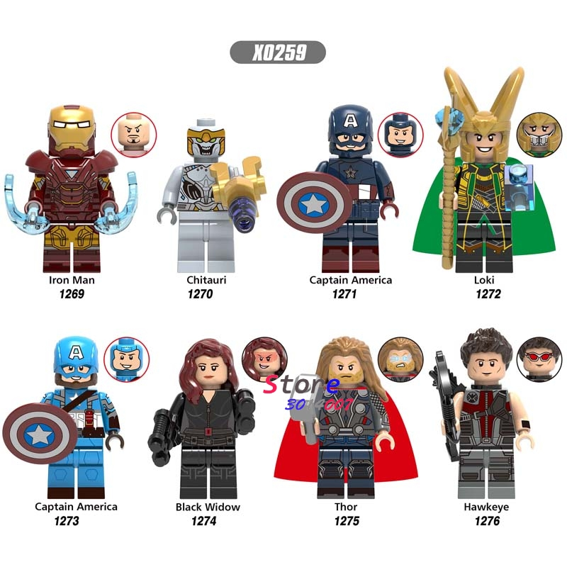 50pcs Endgame Iron Man Chitauri Loki Black Widow Thor Hawkeye Captain America Avengers 4 building block