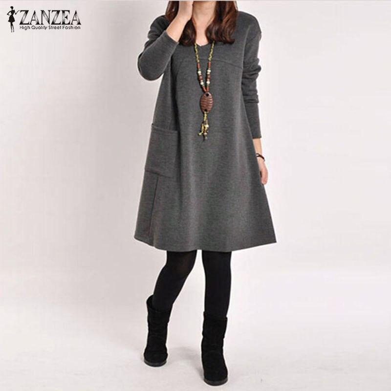 ZANZEA Herbst Winter Lange Blusas 2018 Frauen Langarm Tasche kleid Feste O Neck Beiläufige Lose Kleider Vestidos Plus Größe S-5XL